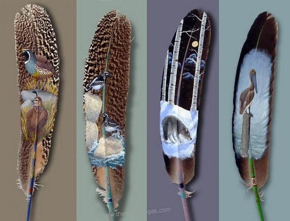 drawings on feather 01 in Drawings on feather? Creative Art Medium