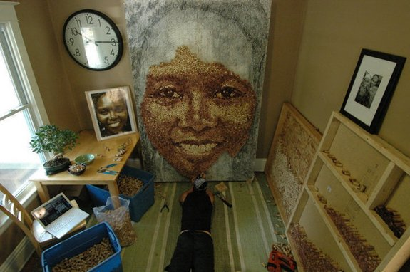 Giant Portraits Made From Thousands of Repurposed Wine Corks