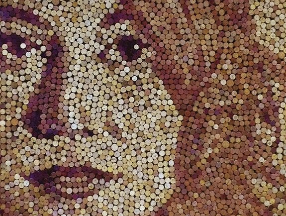 giant portraits 07 in Giant Portraits Made From Thousands of Repurposed Wine Corks