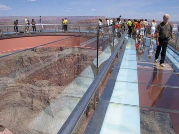 glass bridge above colorado 10 in 4,000 feet glass bridge above Colorado River 