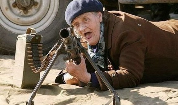 old ladys with guns 01 in Inexplicable Old Ladies With Guns Photography