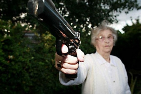 old ladys with guns 02 in Inexplicable Old Ladies With Guns Photography