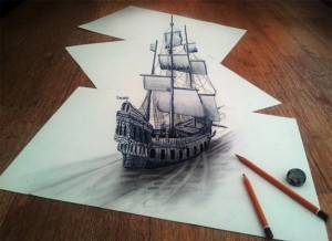 Amazing 3D Sketches That Look As if Objects Are Flying