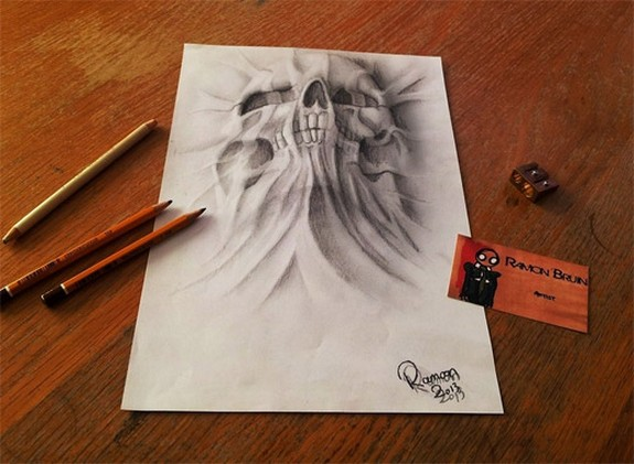 amazing 3d sketches that look as if objects are flying 01 in Amazing 3D Sketches That Look As if Objects Are Flying