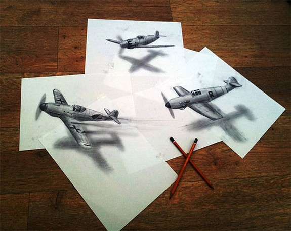 amazing 3d sketches that look as if objects are flying 04 in Amazing 3D Sketches That Look As if Objects Are Flying