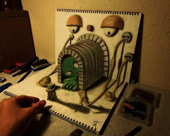 incredible 3d pencil drawings by nagai hideyuki 04 in Incredible 3D Pencil Drawings by Nagai Hideyuki