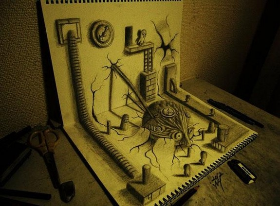 incredible 3d pencil drawings by nagai hideyuki 06 in Incredible 3D Pencil Drawings by Nagai Hideyuki