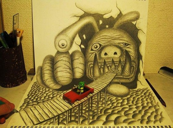 incredible 3d pencil drawings by nagai hideyuki 07 in Incredible 3D Pencil Drawings by Nagai Hideyuki