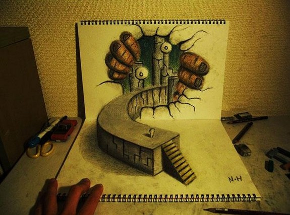 incredible 3d pencil drawings by nagai hideyuki 08 in Incredible 3D Pencil Drawings by Nagai Hideyuki